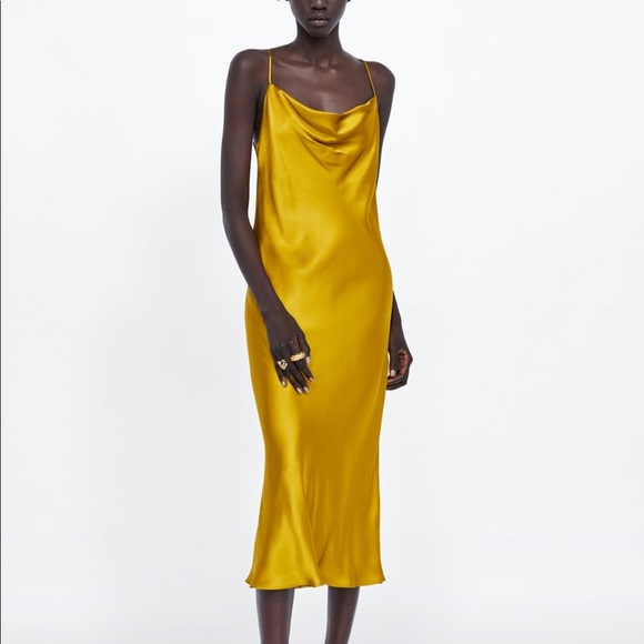 Zara Dresses & Skirts - Zara mustard satin midi dress- size Small